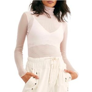 NWT Free People Ivory Turtleneck Top, Size Small